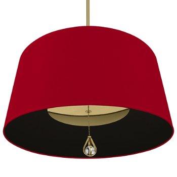 Shown in Richmond Red Shade with Blacksmith Black Interior, Modern Brass finish, lit