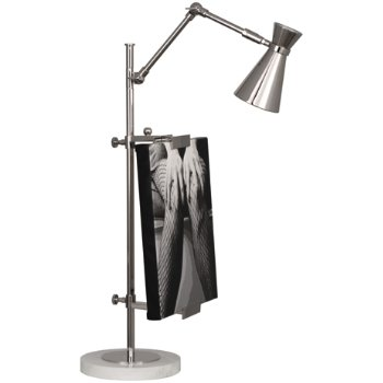 Shown in Polished Nickel with Carrara Marble Base