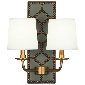 Shown in Carter Gray color, Aged Brass finish