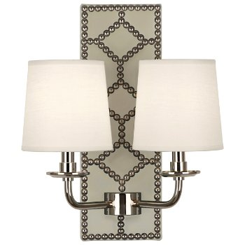 Shown in Bruton White color, Polished Nickel finish