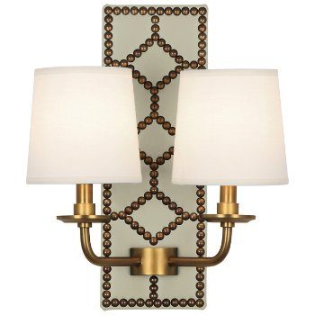 Shown in Bruton White color, Aged Brass finish