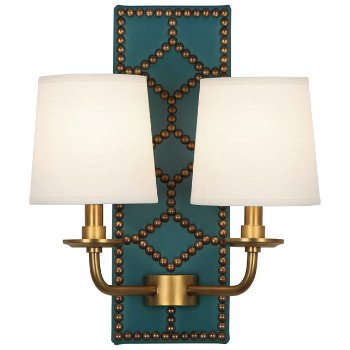 Shown in Mayo Teal color, Aged Brass finish