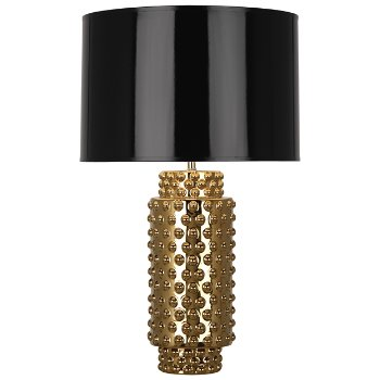 Shown in Black Painted Parchment shade, Gold Metallic finish