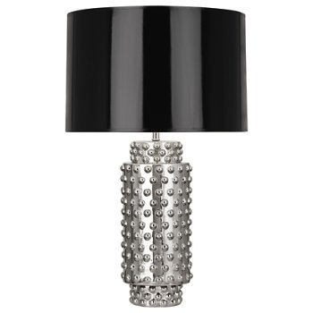 Shown in Black Parchment with Gold Foil Lining shade, Nickel Metallic finish