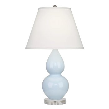 Shown in Baby Blue color, Pearl Dupioni Fabric Shade