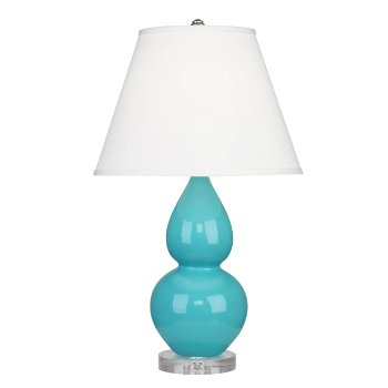 Shown in Egg Blue color, Pearl Dupioni Fabric Shade