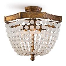 Frosted Crystal Bead Semi-Flushmount Light
