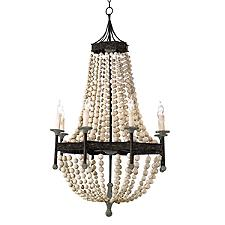 Wood Beaded Chandelier