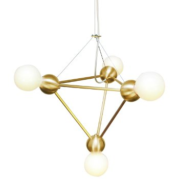 Shown lit in Brushed Brass finish, White cord