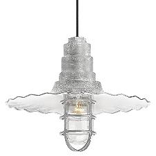 Radial Wave Outdoor Pendant Light w/ Cast Guard & Clear Glass