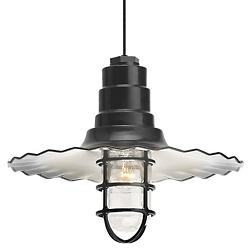 Radial Wave Pendant w/Cast Guard and Glass(Blk/18)-OPEN BOX