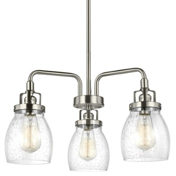 Shown in Brushed Nickel finish, 3 light