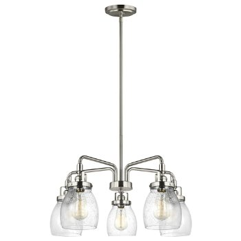 Shown in Brushed Nickel finish, 5 light