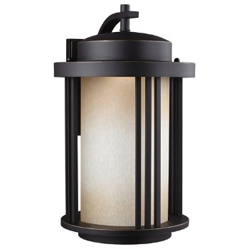 Shown in Antique Bronze finish with Creme Parchment Glass, Large size, lit