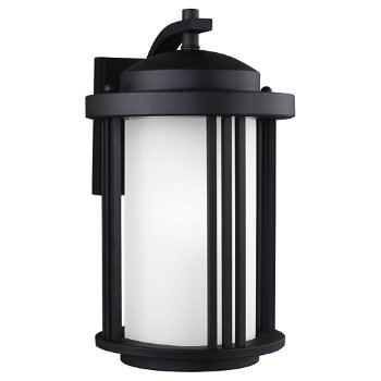 Shown in Black finish with Satin Etched Glass, Medium size, unlit