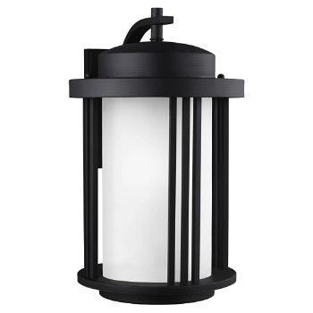 Shown in Black finish with Satin Etched Glass, Large size, unlit