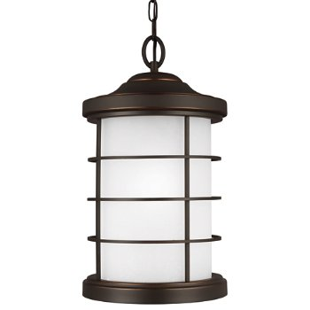 Sauganash Outdoor Pendant with Etched Seeded Glass