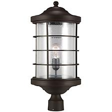 Sauganash Outdoor Post Light with Clear Seeded Glass