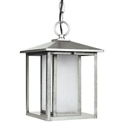 Hunnington Outdoor Pendant with Etched Seeded Glass