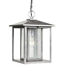Hunnington Outdoor Pendant with Clear Seeded Glass