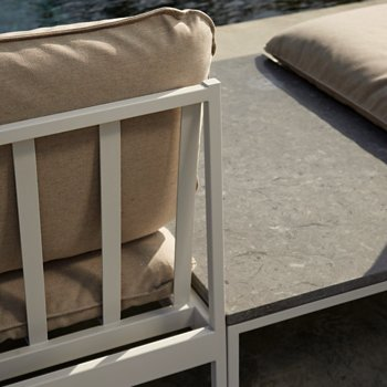 Shown in Light Grey Sunbrella Ashe, Light Grey frame
