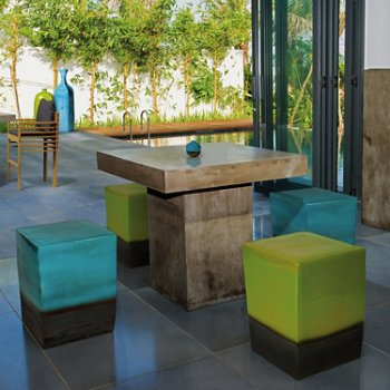 Pictured with the Two Glaze Square Cube Stool (sold separately)