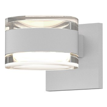 Shown in Clear Acrylic Cylinder Top shade with Clear Acrylic Cylinder Bottom shade, Textured White finish