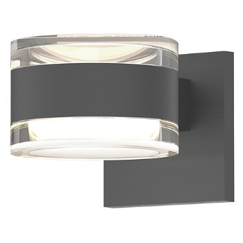 Shown in Clear Acrylic Cylinder Top shade with Clear Acrylic Cylinder Bottom shade, Textured Gray finish