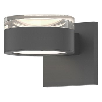 Shown in Clear Acrylic Cylinder Top shade with Optical Acrylic Plate Bottom shade, Textured Gray finish
