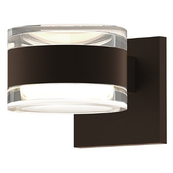 Shown in Clear Acrylic Cylinder Top shade with Clear Acrylic Cylinder Bottom shade, Textured Bronze finish