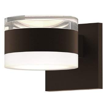 Shown in Clear Acrylic Cylinder Top shade with Frosted Polycarbonate Cylinder Bottom shade, Textured Bronze finish