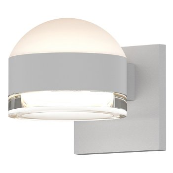 Shown in Frosted Polycarbonate Dome Top shade with Clear Acrylic Cylinder Bottom shade, Textured White finish