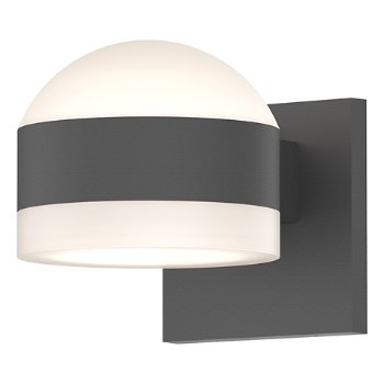 Shown in Frosted Polycarbonate Dome Top shade with Frosted Polycarbonate Cylinder Bottom shade, Textured Gray finish
