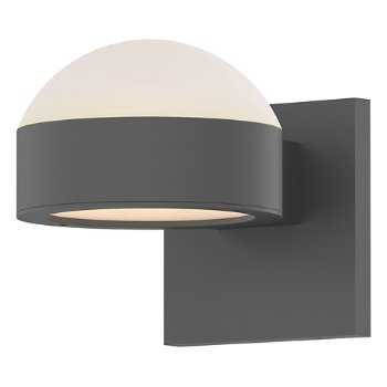 Shown in Frosted Polycarbonate Dome Top shade with Optical Acrylic Plate Bottom shade, Textured Gray finish