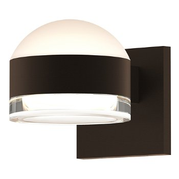 Shown in Frosted Polycarbonate Dome Top shade with Clear Acrylic Cylinder Bottom shade, Textured Bronze finish