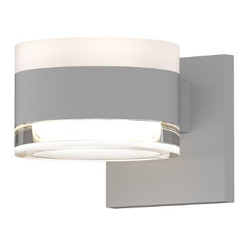 Shown in Frosted Polycarbonate Cylinder Top shade with Clear Acrylic Cylinder Bottom shade, Textured White finish