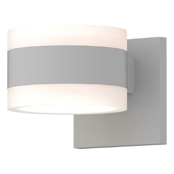 Shown in Frosted Polycarbonate Cylinder Top shade with Frosted Polycarbonate Cylinder Bottom shade, Textured White finish