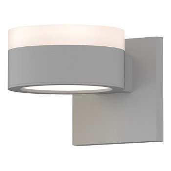 Shown in Frosted Polycarbonate Cylinder Top shade with Optical Acrylic Plate Bottom shade, Textured White finish