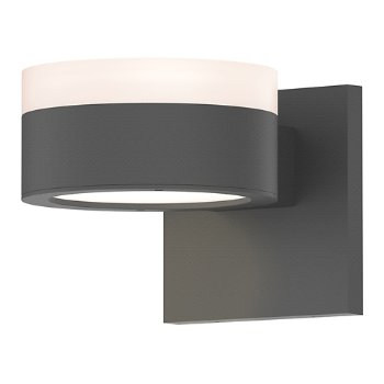 Shown in Frosted Polycarbonate Cylinder Top shade with Optical Acrylic Plate Bottom shade, Textured Gray finish