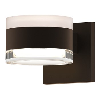 Shown in Frosted Polycarbonate Cylinder Top shade with Clear Acrylic Cylinder Bottom shade, Textured Bronze finish
