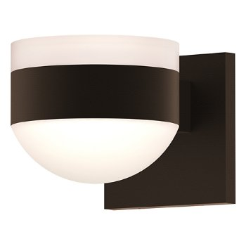 Shown in Frosted Polycarbonate Cylinder Top shade with Frosted Polycarbonate Dome Bottom shade, Textured Bronze finish