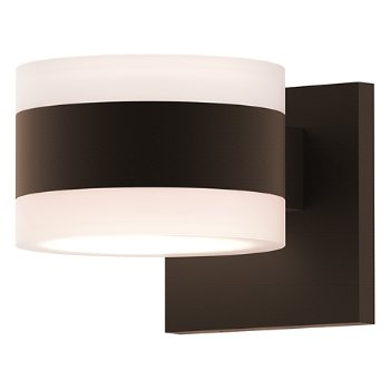 Shown in Frosted Polycarbonate Cylinder Top shade with Frosted Polycarbonate Cylinder Bottom shade, Textured Bronze finish
