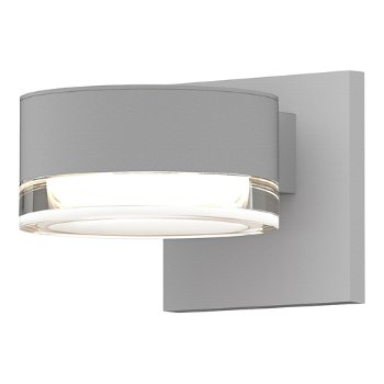 Shown in Optical Acrylic Plate Top shade with Clear Acrylic Cylinder Bottom shade, Textured White finish