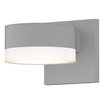 Shown in Optical Acrylic Plate Top shade with Frosted Polycarbonate Cylinder Bottom shade, Textured White finish