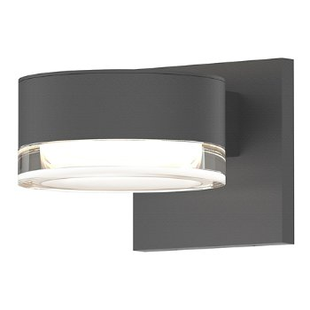 Shown in Optical Acrylic Plate Top shade with Clear Acrylic Cylinder Bottom shade, Textured Gray finish