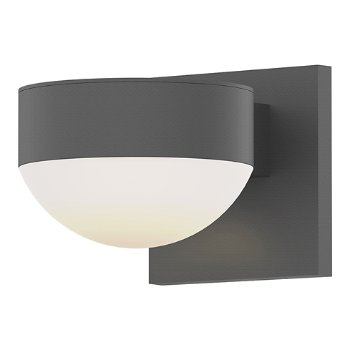 Shown in Optical Acrylic Plate Top shade with Frosted Polycarbonate Dome Bottom shade, Textured Gray finish