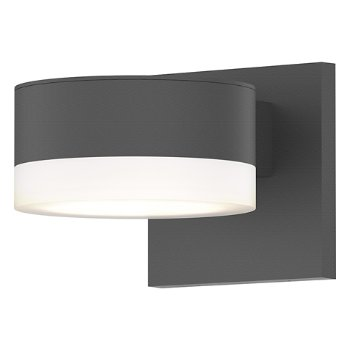 Shown in Optical Acrylic Plate Top shade with Frosted Polycarbonate Cylinder Bottom shade, Textured Gray finish