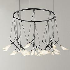 Suspenders 32-Inch Single Ring Pendant Light with Petal Shades
