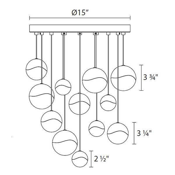 Grapes LED 12-Light Round Multi-Light Pendant