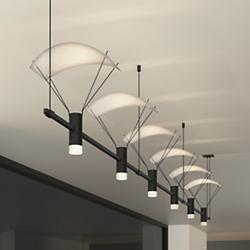 Suspenders 36 Inch 3-Bar Linear LED System - Bar-Mounted Duplex Cylinder / Glass Diffuser / Parachute Reflector